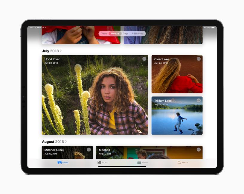 iPadOS 中照片 app 的精选图库视图