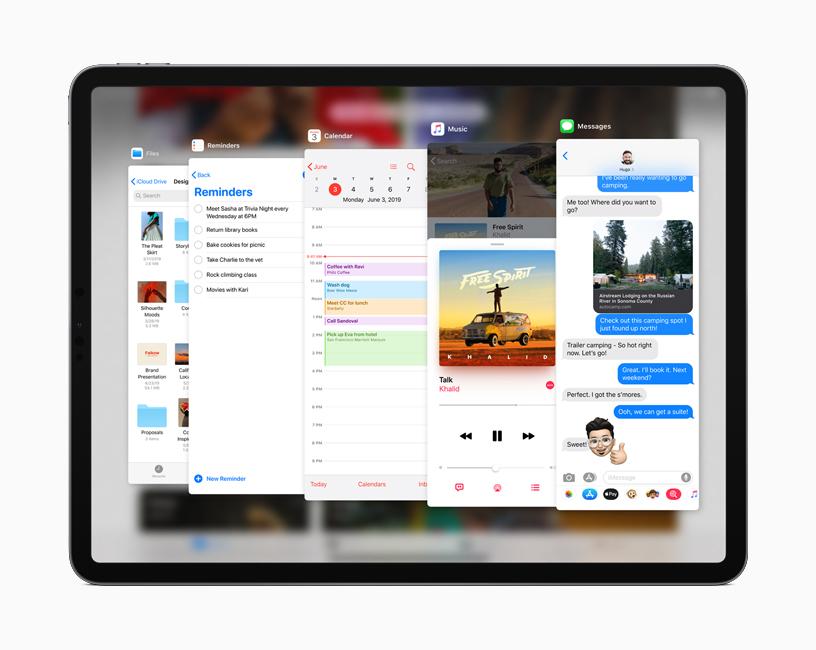 """iPad 上运行的 iPadOS 中正在显示""""侧拉""""功能界面。"""