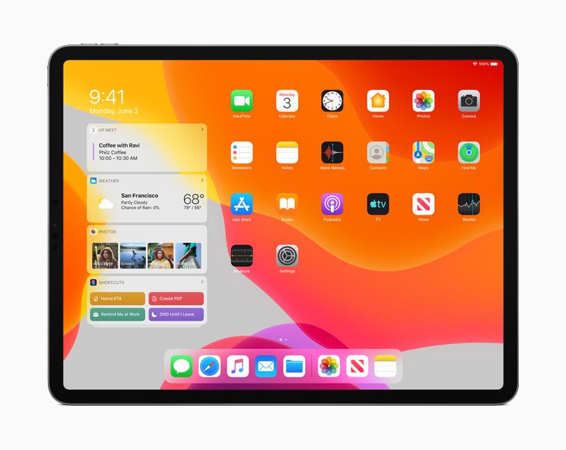 """iPadOS 新的主屏幕在""""今天""""视图中显示日历、天气和照片 app 的信息。"""