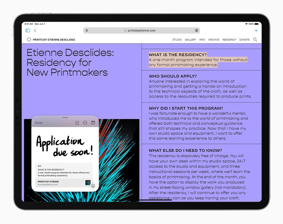 """搭载 iPadOS 15 系统的 iPad Pro 中的""""快速备忘录""""功能。"""