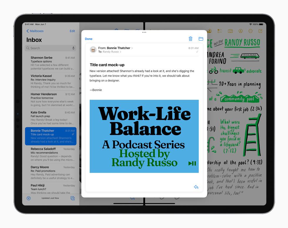 搭载 iPadOS 15 的 iPad 上的分屏浏览和侧拉功能。