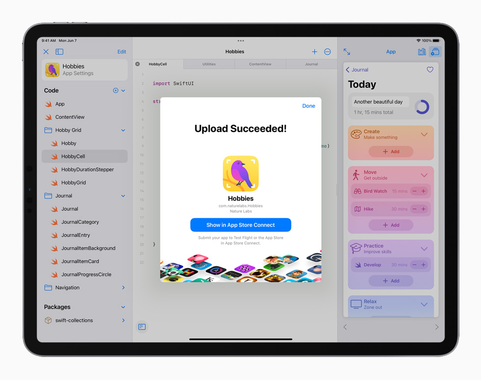 iPad Pro 上展示将 app 提交至 App Store。