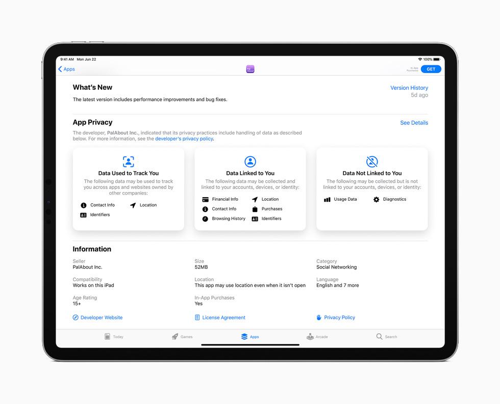 iPad Pro 上展示 App Store 中关于隐私处理的信息。