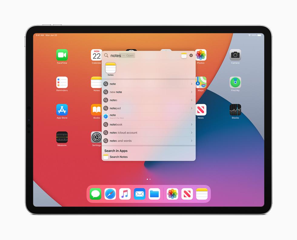 iPad Pro 上展示 iPadOS 14 新的搜索窗口。