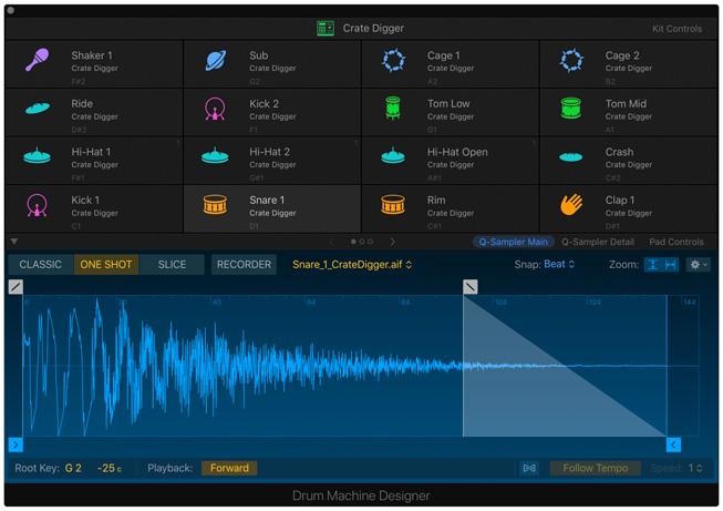 Logic Pro X 中的 Drum Machine Designer 工具。