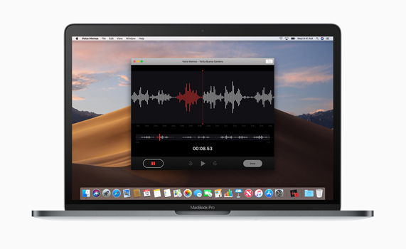 MacBook Pro 桌面上的语音备忘录 app。