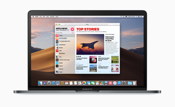 MacBook Pro 桌面上的 Apple News app。