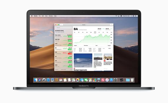 MacBook Pro 桌面上的股市 app。