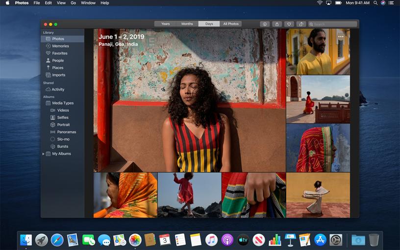 macOS Catalina 上的照片 app。