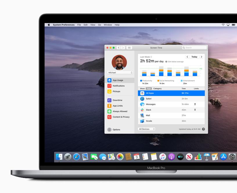 MacBook Pro 上的屏幕使用时间功能。
