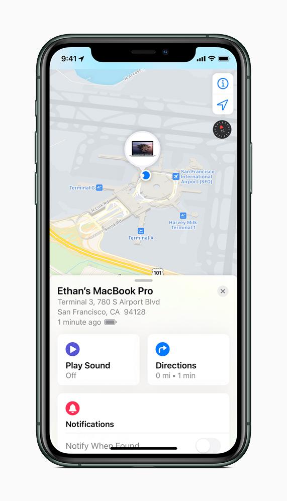 iPhone 上的查找 app 可用于定位丢失的 Mac。
