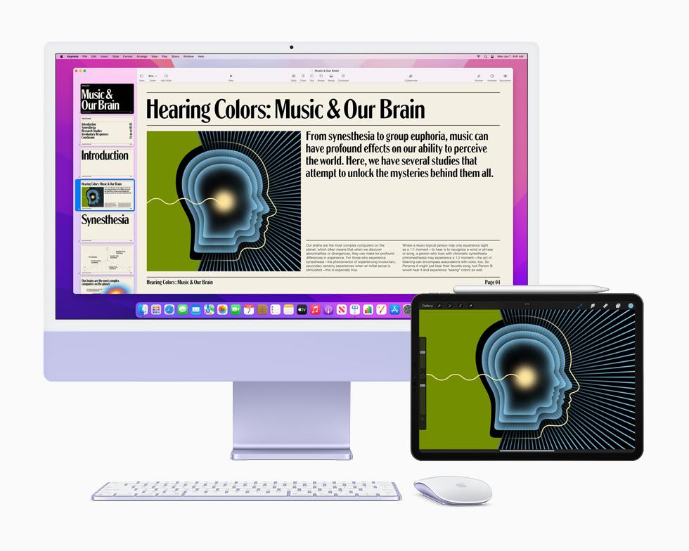 通用控制在 macOS Monterey 中,使得 Procreate app 可以在 iMac 和 iPad Pro 上跨设备使用。