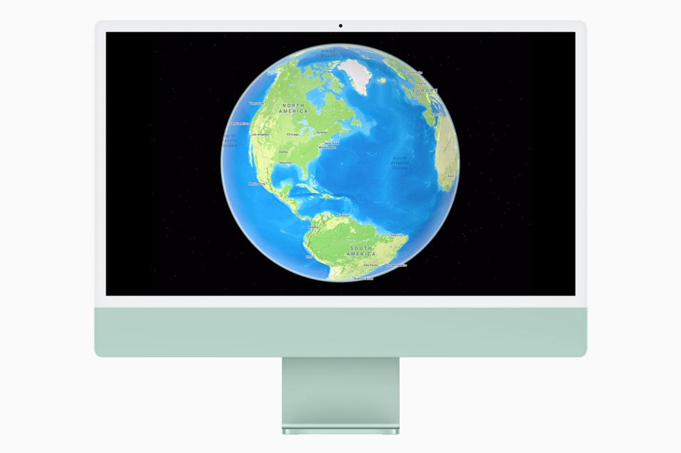 在 iMac 上展示的新的交互式地球视图。