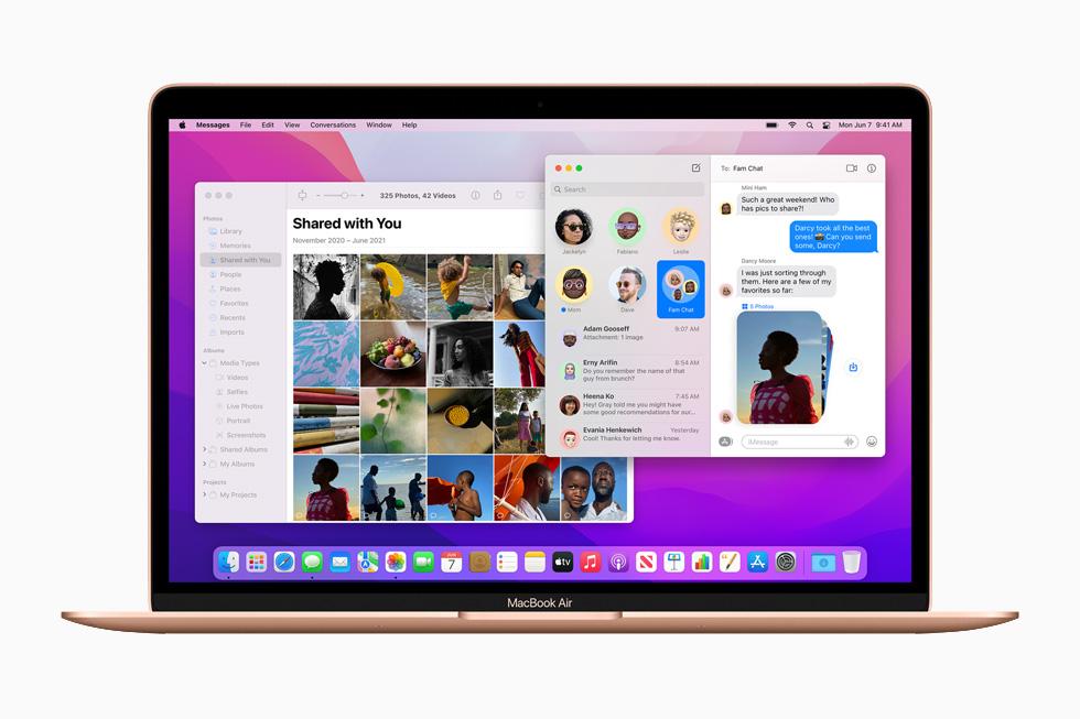 在 MacBook Air 上展示的与你共享。