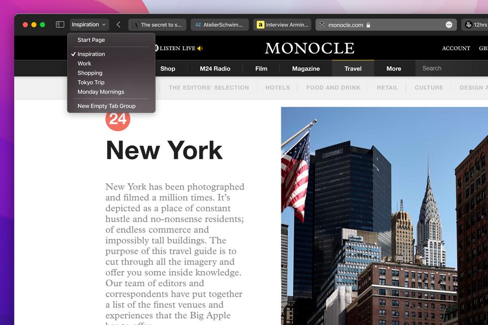 在 iMac 上展示的 macOS Monterey 焕新升级的 Safari 浏览器体验。