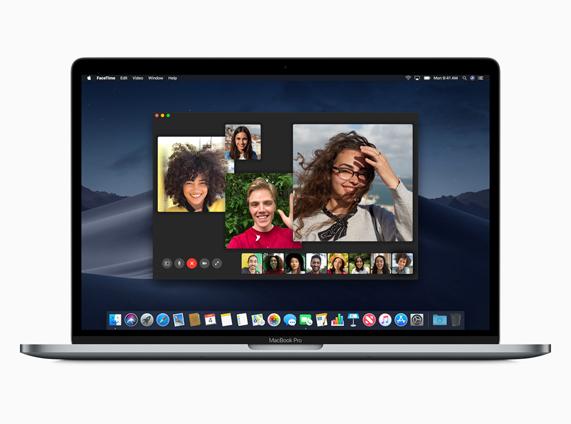 MacBook 上的多路 FaceTime 通话应用演示