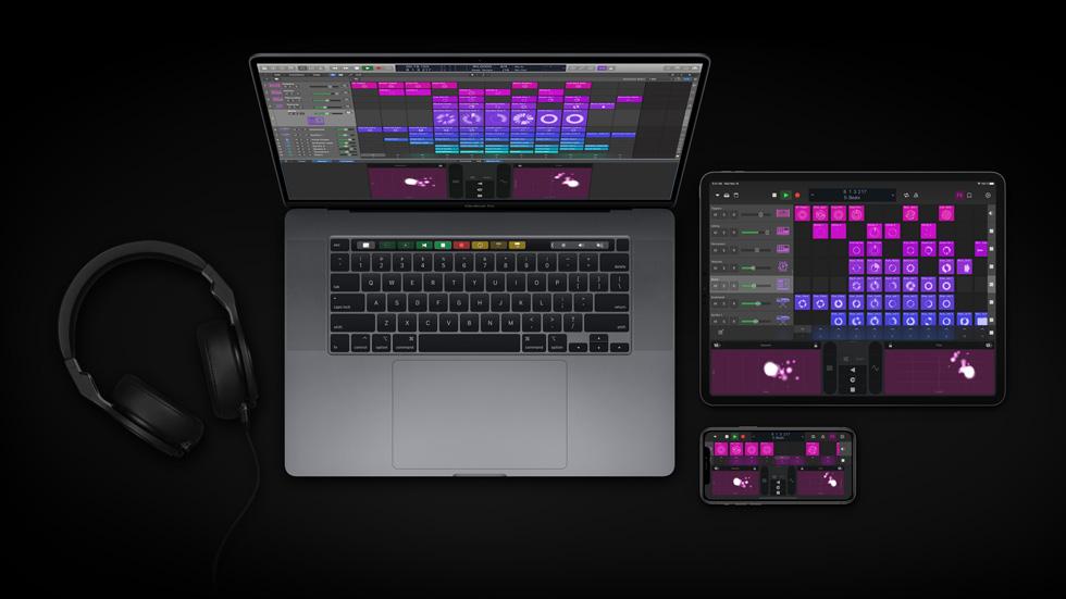 MacBook Pro、iPad Pro 和 iPhone 上显示 Logic Pro