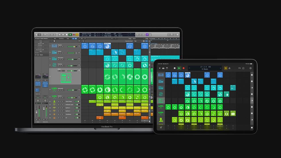MacBook Pro 和 iPad Pro 上显示 Logic Pro X 10.5 。