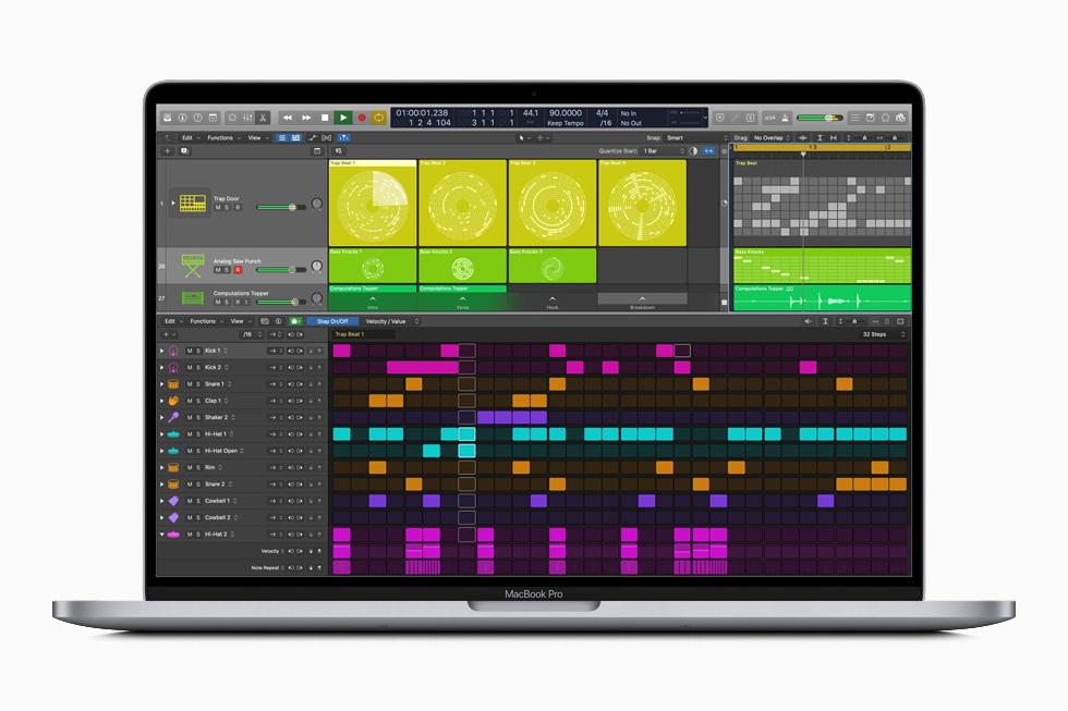 MacBook Pro 上显示 Logic Pro X 中的步进音序器工具。