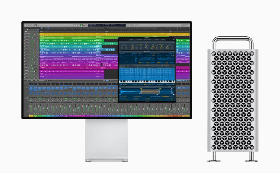 Mac Pro 和 Pro Display XDR,显示 Logic Pro X。