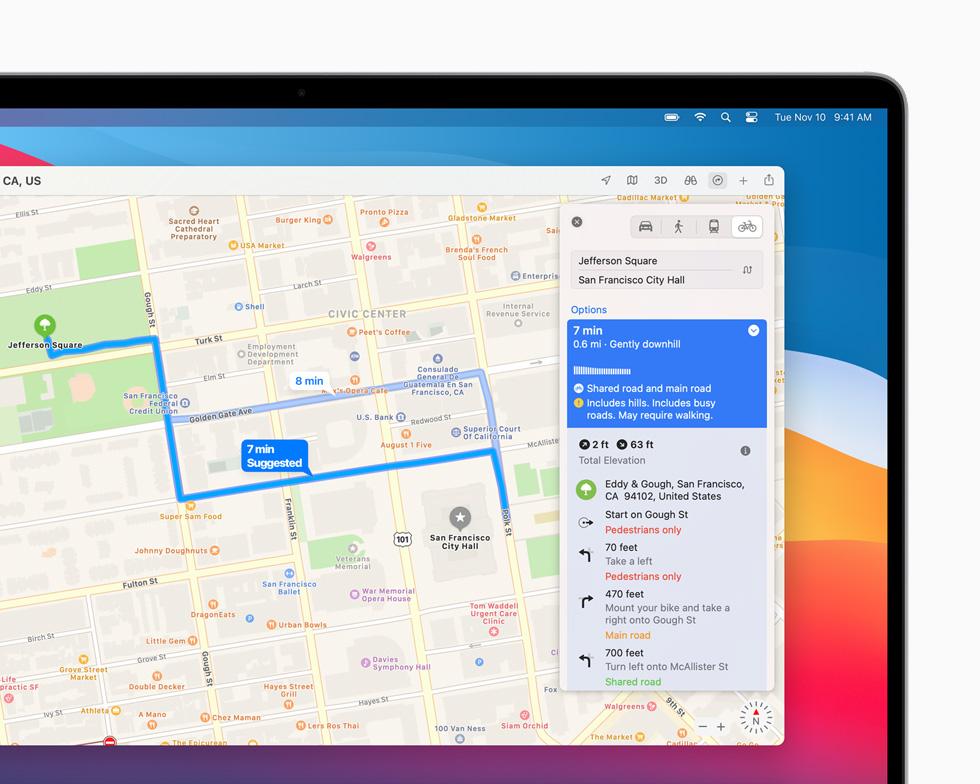 MacBook Pro 上显示地图 app 规划的在旧金山的骑行路线。