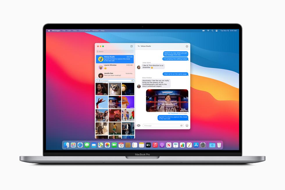 MacBook Pro 上显示通过信息 app 共享到群组的照片。