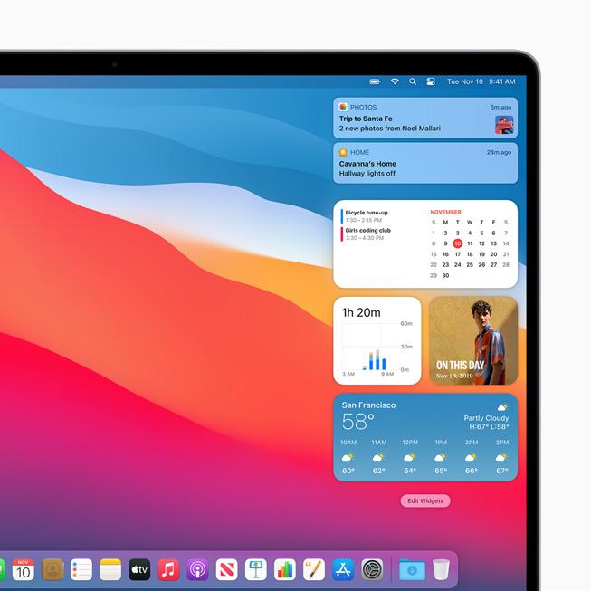 MacBook Pro 上显示重新设计的小组件。