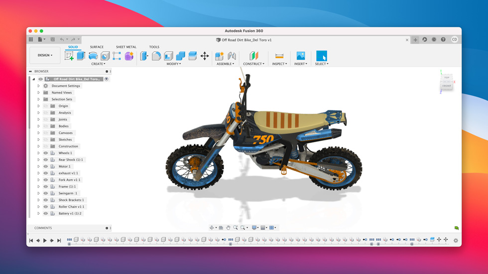 Mac 上显示设计软件 Fusion 360。