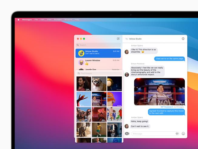 MacBook Pro 上显示信息 app 中的新照片挑选器。
