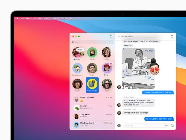 MacBook Pro 上显示信息 app 中置顶的对话。