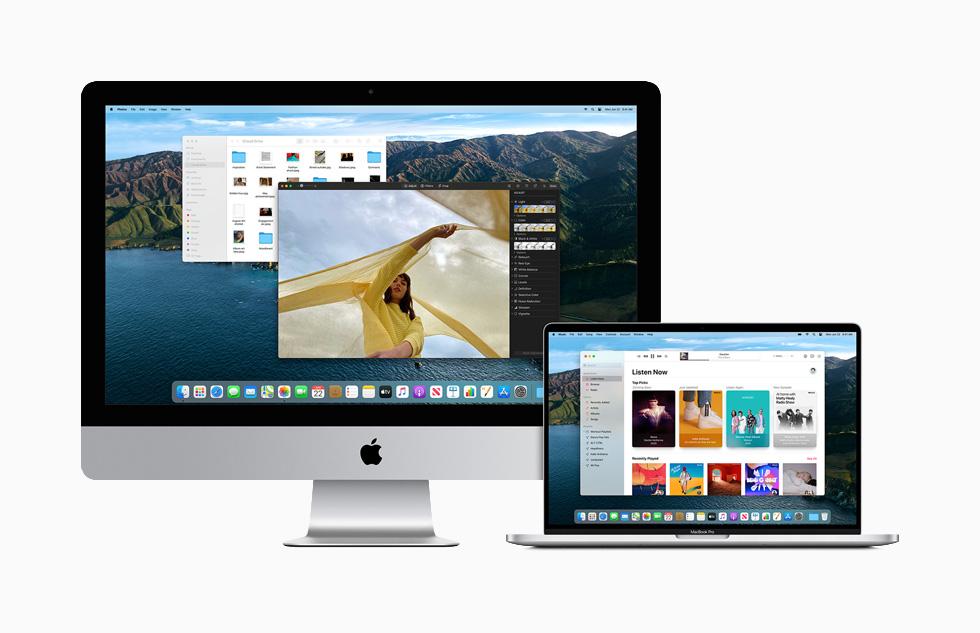 Mac 和 MacBook Pro 上显示 macOS Big Sur 的宽阔的新设计。