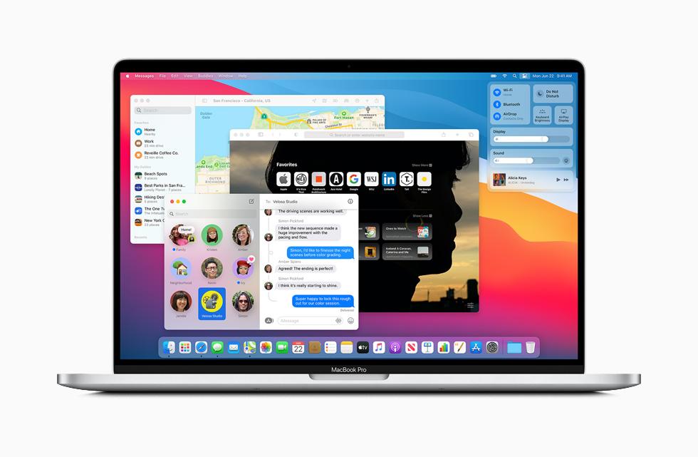 MacBook Pro 上显示 macOS Big Sur 中的信息 app。