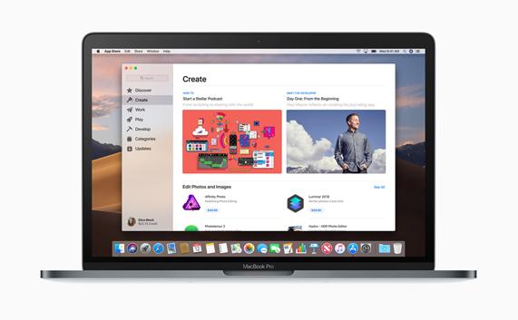 在 MacBook Pro 桌面上焕然一新的 Mac App Store 中创建页面。