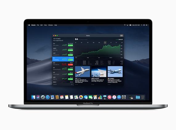 新的 Apple 股市桌面小组件图像
