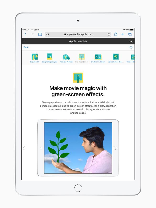 Apple Teacher Portfolio 的绿屏效果课程在 iPad 上显示。