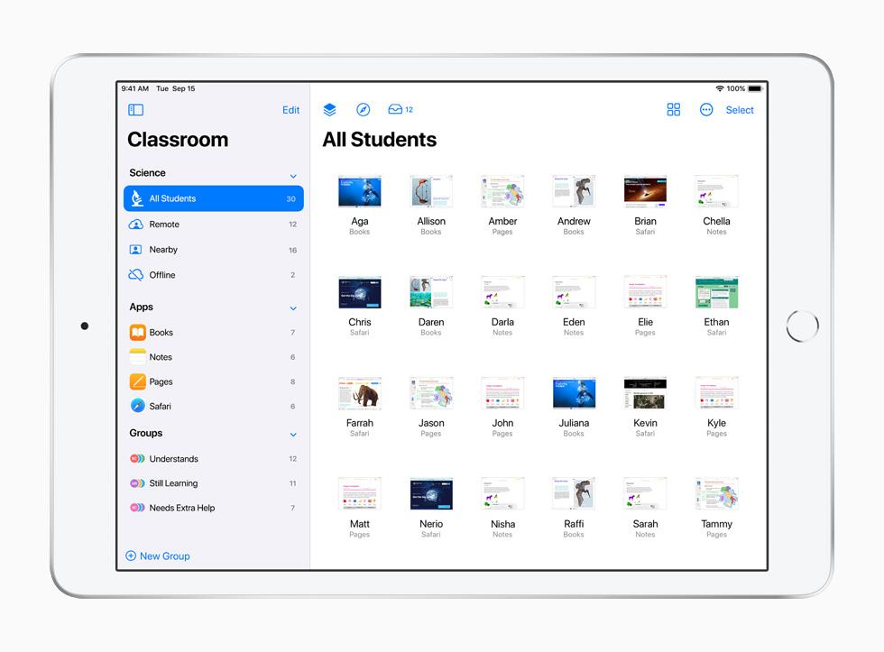 iPad 上展示课堂 app。