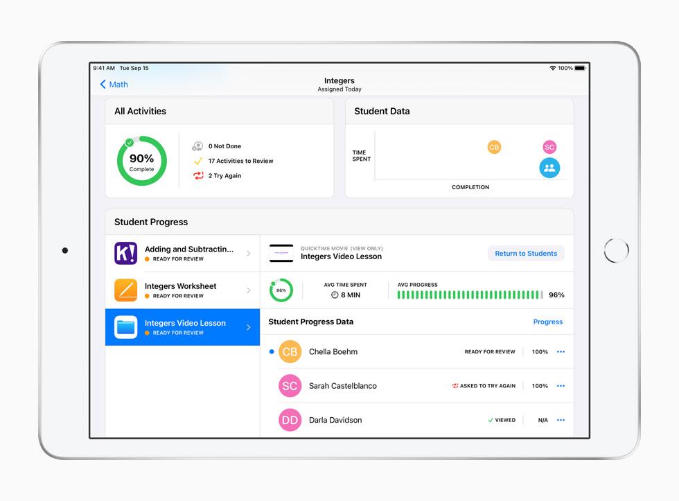 iPad 上展示课业 app。