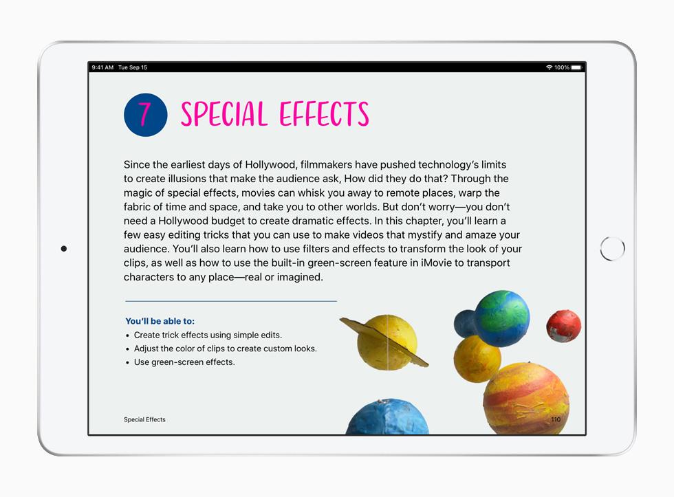 "iPad 上展示""人人能创造""系列课程的特效课。"