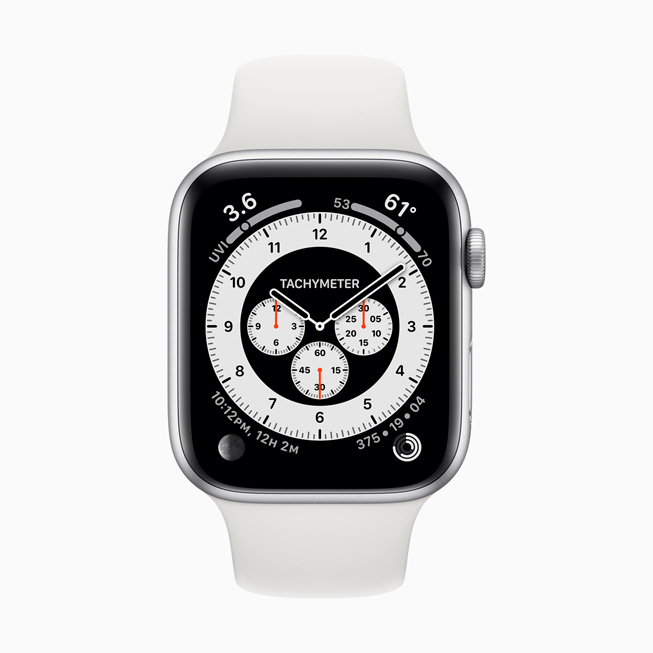 显示在 Apple Watch Series 5 上的 Chronograph Pro 表盘。