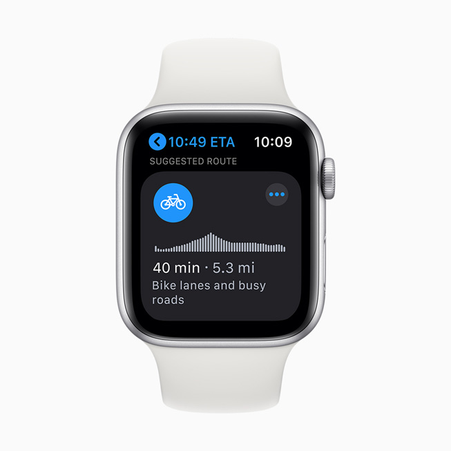 Apple Watch Series 5 上显示骑行路线。