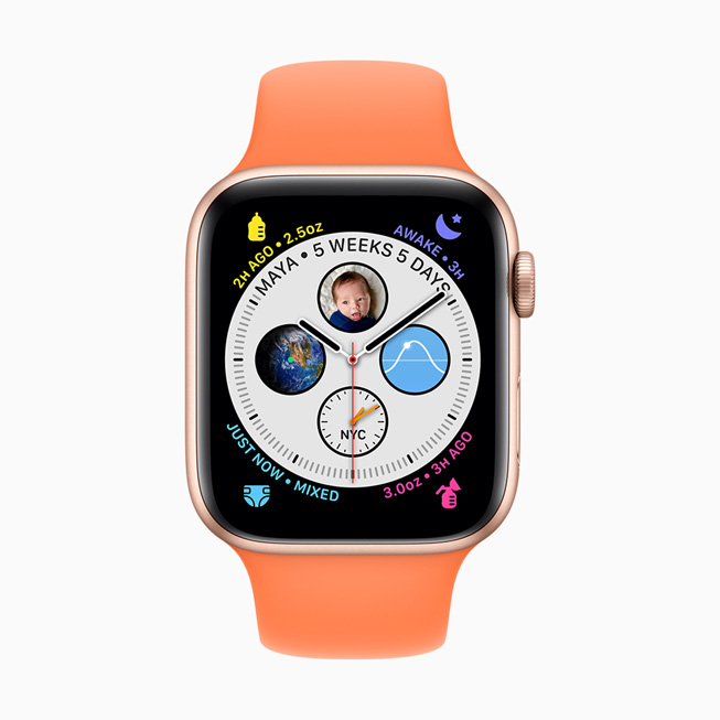 显示在 Apple Watch Series 5 上的 Glow Baby app。