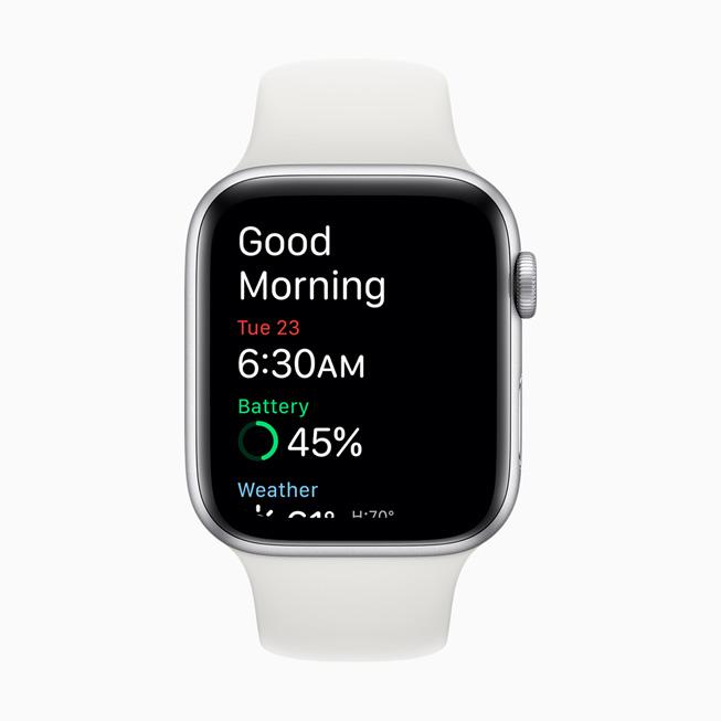 显示在 Apple Watch Series 5 上的叫醒屏幕。