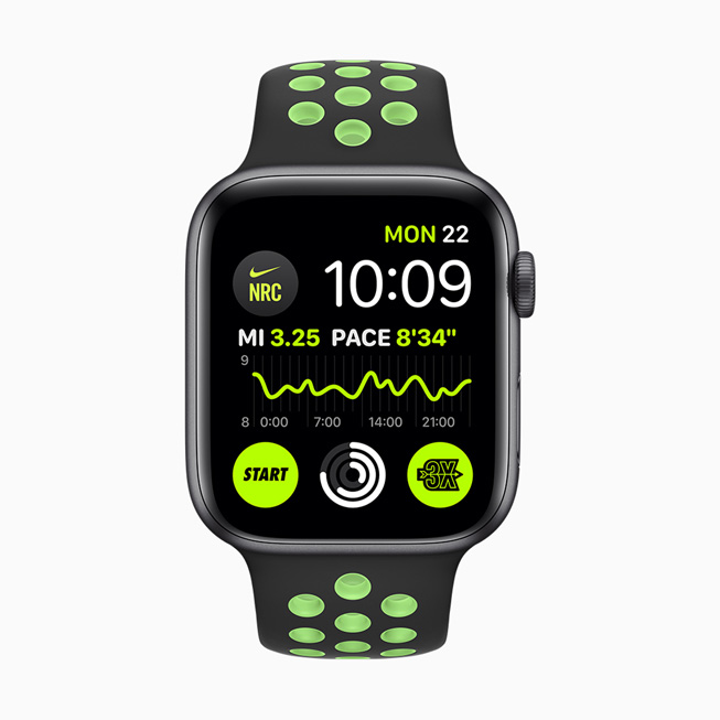 显示在 Apple Watch Series 5 上的 Nike Run Club 复杂功能。