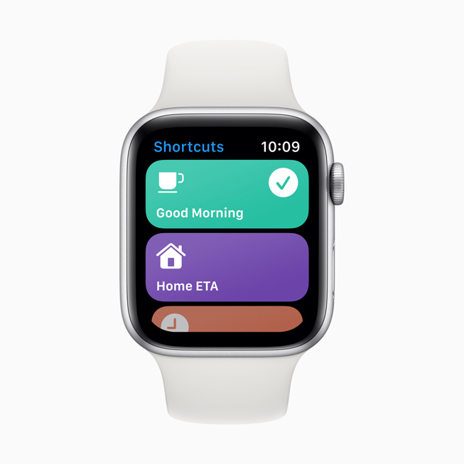 快捷指令 app 显示在 Apple Watch Series 5 上。