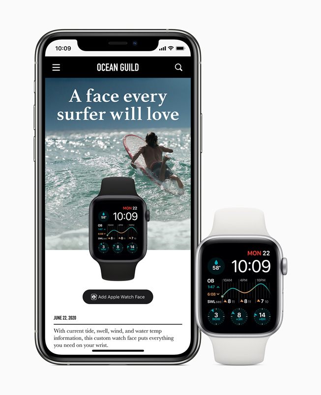 分享至 iPhone 11 Pro 并显示在 Apple Watch Series 5 上的冲浪定制表盘。