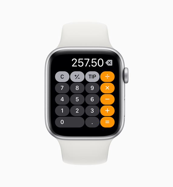 Apple Watch 上的计算器 app。