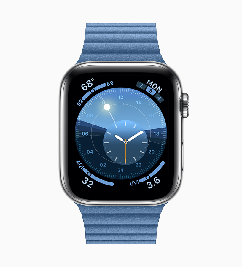 Apple Watch 搭配菊蓝色表带。