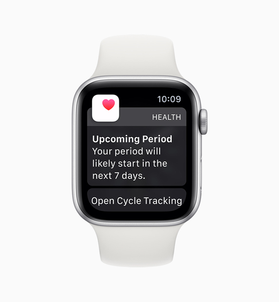 Apple Watch 上的健康 app 显示 Cycle Tracking app 通知。