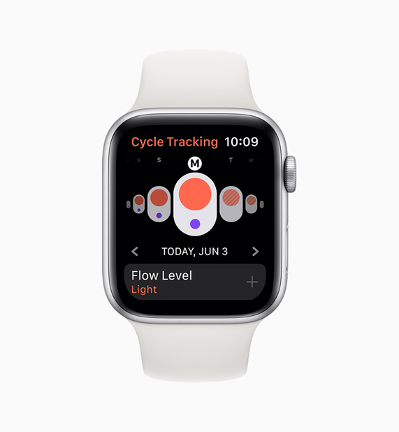 Apple Watch 上的 Cycle Tracking app。