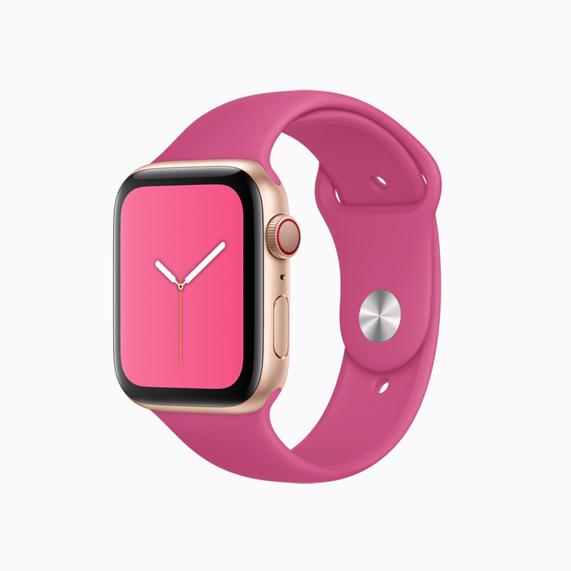 Apple Watch 火龙果色运动型表带。